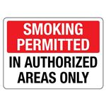 Smoking Permitted in Authorized Areas Only Sign
