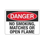 Danger No Smoking, Matches Or Open Flame Sign