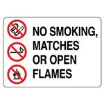 No Smoking, Matches or Open Flame Sign