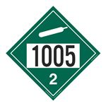UN#1005 Non-Flammable Gas Stock Numbered Placard