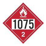 UN#1075 Flammable Gas Stock Numbered Placard