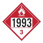 UN#1993 Combustible Liquid Stock Numbered Placard
