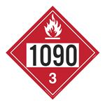 UN#1090 Flammable Liquid Stock Numbered Placard