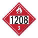 UN#1208 Flammable Liquid Stock Numbered Placard