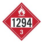 UN#1294 Flammable Liquid Stock Numbered Placard