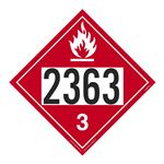 UN#2363 Flammable Stock Numbered Placard