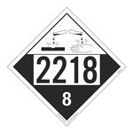 UN#2218 Corrosive Stock Numbered Placard