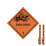 International Wordless Labels - Explosives 1.1 - 1.3 - Label with Handy Tabs