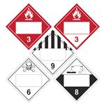 Duo-Flip - Flammable 3, Combustible 3, Poison 6, Corrosive 8, Miscellaneous 9, Blank