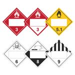 Duo-Flip - Flammable 3, Combustible 3, Oxidizer 5.1, Poison 6, Corrosive 8, Miscellaneous 9, Blank