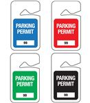 Stock Numbered Rearview Mirror Parking Permit Hanging Tags 2 7/8x4 7/8