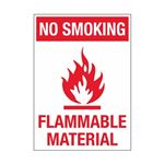 No Smoking Flammable Material Sign