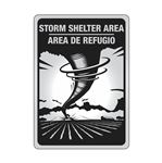 Aluminum Reflective Bilingual Storm Shelter Area Sign 10x14