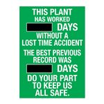 This Plant Has Worked (blank) Days Without A Lost Time Accident - 20 in. x 28 in.
