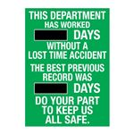 This Dept Has Worked (blank) Days Without A Lost Time Accident - 20 in. x 28 in.