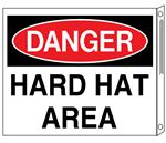Two-Sided Flanged Signs - Danger Hard Hat Area 10x12