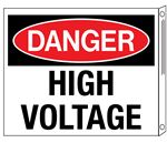 Two-Sided Flanged Signs - Danger High Voltage 10x12