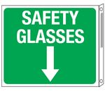 Two-Sided Flanged Signs - Safety Glasses with Down Arrow 10x12