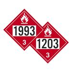 Two-Sided Placards-Flammable Liq.-NOS/Gasoline-10 3/4x10 3/4