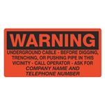 Warning Underground Cable - 6 x 12