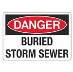 Danger Buried Storm Sewer - 10 x 14