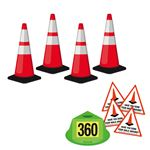 360 Walk Around Safety Kit - Red-Orange W/ Reflective Collars