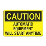 Automatic Equipment Will Start Anytime Decal