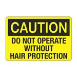 Do Not Operate Without Hair protection Decal