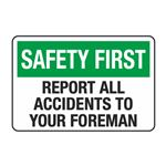 Report All Accidents to Your Foreman Decal