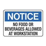 No Food or Beverages Allowed at Work Station Decal