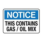 This Contains Gas / Oil Mix Decal