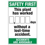 Safety First This Plant Has Worked (blank) Days Without a Lost Time Accident - 24 in. x 36 in.